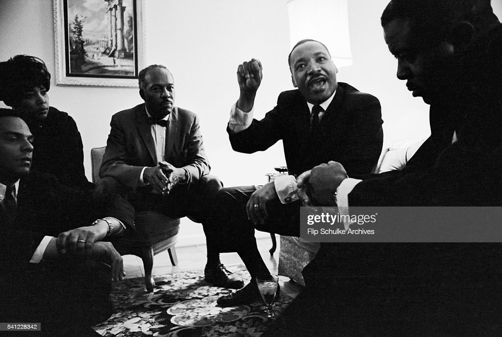 Martin Luther King Jr. and other civil rights leaders meet to discuss strategy during the Selma -Montgomery Civil Rights Marches.
