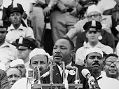 Martin Luther King Jr gives his 'I Have a Dream' speech to a crowd before the Lincoln Memorial during the Freedom March in Washington DC on August 28...