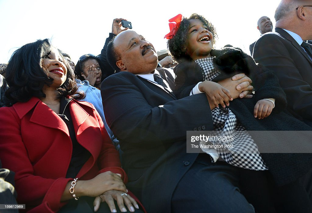 Martin Luther King Jr. III, wife Andrea Waters and daughter Yolanda Renee King at the Wreath-Laying Ceremony at the Martin Luther King Jr. Memorial in Washington, DC on January 20, 2013. It's the first wreath-laying ceremony since the Memorial was dedicated. Thousands flocked to the area today to pay tribute to the civil rights leader and his legacy. Notables at the ceremony were MLK's oldest son, Martin Luther King III, actor Jamie Foxx, The Rev. Al Sharpton, and Rev. Jesse Jackson.