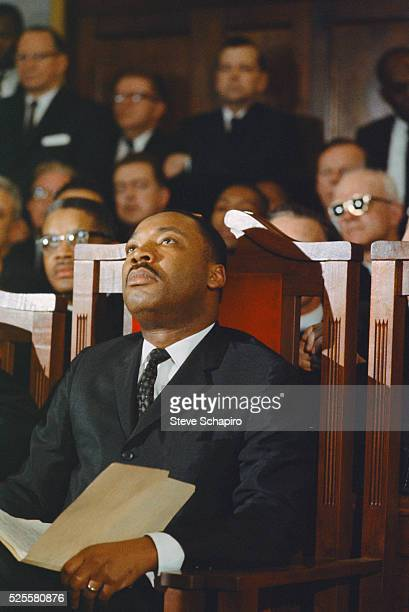 Martin Luther King Jr looking up during the memorial service for Minister James Reeb Unitarian minister Reeb was murdered by segregationists during...