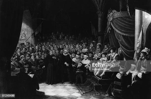 1521 Martin Luther the German religious reformer at the Diet of Worms convened by Charles V appealing to him about the order for all his books to be...