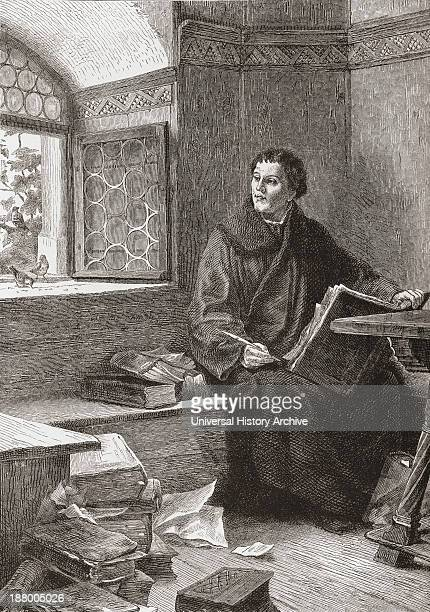 Martin Luther Translating The Bible At Wartburg Castle Germany In 1521 Martin Luther 1483 – 1546 German Priest And Professor Of Theology From...