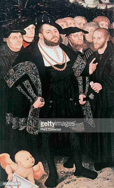 Martin Luther with reformers c1530 Martin Luther German Protestant reformer left with John Oecolampadius John Frederick the Magnanimous Elector of...