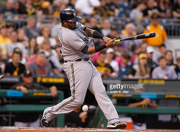 Martin Maldonado of the Milwaukee Brewers bats during the game against the Pittsburgh Pirates at PNC Park on April 18 2015 in Pittsburgh Pennsylvania