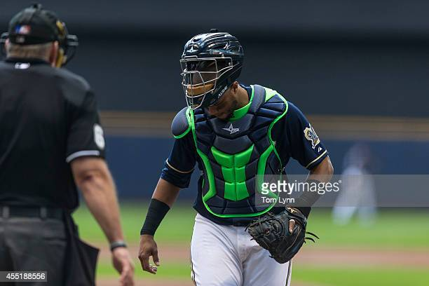 Martin Maldonado of the Milwaukee Brewers behind the plate against the St Louis Cardinals at Miller Park on September 7 2014 in Milwaukee Wisconsin