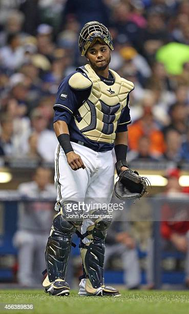 Martin Maldonado of the Milwaukee Brewers during the seventh inning of their game against the Cincinnati Reds at Miller Park on September 13 2014 in...
