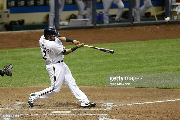 Martin Maldonado of the Milwaukee Brewers hits a double in the bottom of the fourth inning against the Arizona Diamondbacks at Miller Park on April...