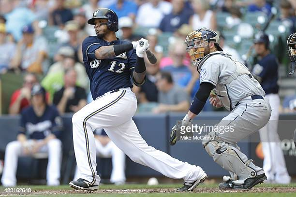 Martin Maldonado of the Milwaukee Brewers hits a single in the second inning against the San Diego Padres at Miller Park on August 06 2015 in...