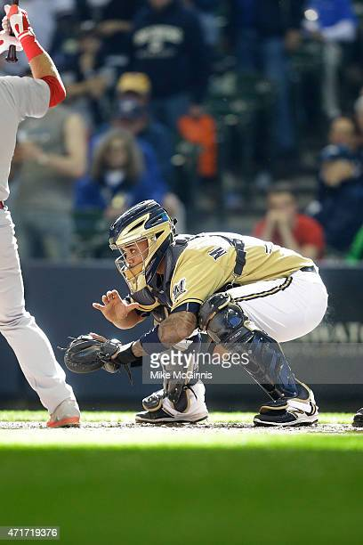 Martin Maldonado of the Milwaukee Brewers in action behind the plate during the game against the St Louis Cardinals at Miller Park on April 26 2015...