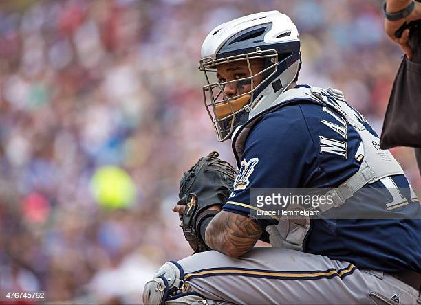 Martin Maldonado of the Milwaukee Brewers looks on during the game against the Minnesota Twins on June 7 2015 at Target Field in Minneapolis...