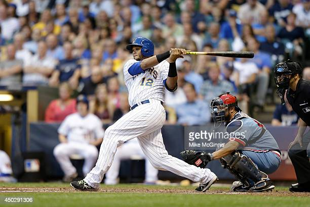Martin Maldonado of the Milwaukee Brewers makes some contact at the plate during the Interleague game against the Minnesota Twins at Miller Park on...