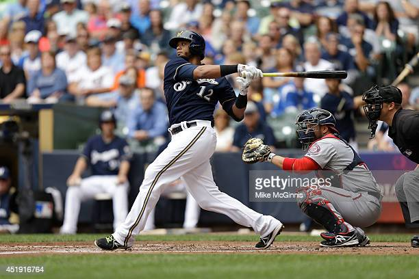Martin Maldonado of the Milwaukee Brewers makes some contact at the plate during the game against the Washington Nationals at Miller Park on June 25...