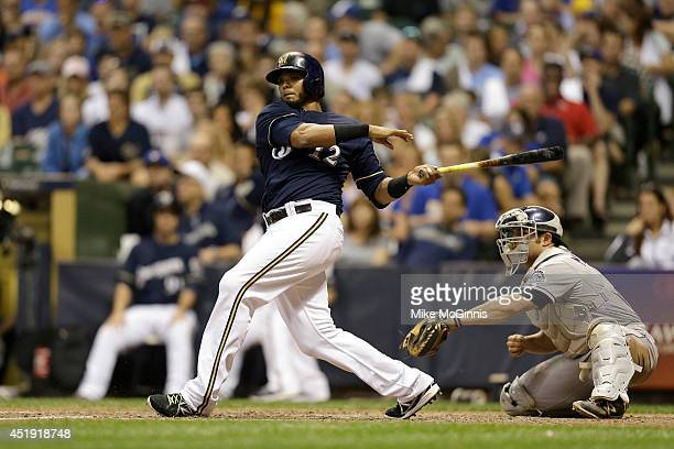 Martin Maldonado of the Milwaukee Brewers makes some contact at the plate during the game against the Colorado Rockies at Miller Park on June 27 2014...