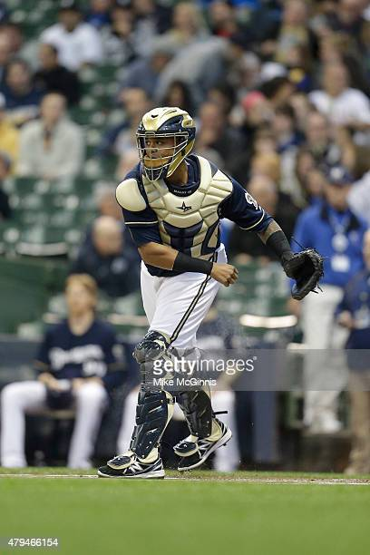 Martin Maldonado of the Milwaukee Brewers makes the throw down to second base during the Interleague game against the Chicago White Sox at Miller...
