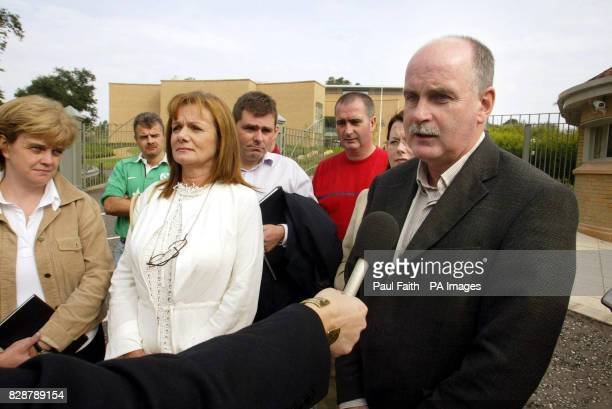 Martin Mallon nephew of murdered pensioner Roseanne Mallonwith family members outside Dungannon Court The Ministry of Defence and Police Service of...
