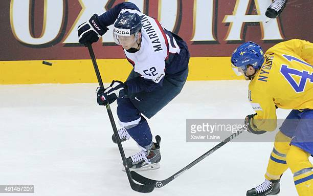 Martin Marincin of Slovakia in action during the 2014 IIHF World Championship between Sweden and Slovakia at Chizhovka arena on may 162014 in Minsk...