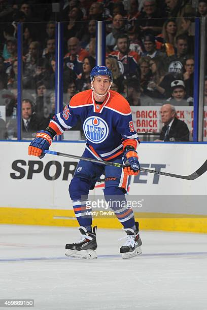Martin Marincin of the Edmonton Oilers skates on the ice during the game against the New Jersey Devils on November 21 2014 at Rexall Place in...