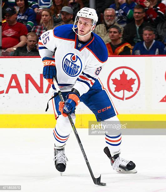 Martin Marincin of the Edmonton Oilers skates up ice during their NHL game against the Vancouver Canucks at Rogers Arena April 11 2015 in Vancouver...