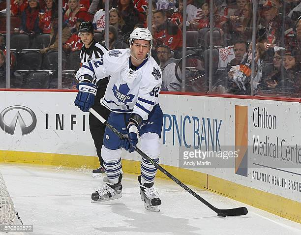 Martin Marincin of the Toronto Maple Leafs plays then puck during the game against the New Jersey Devils at Prudential Center on April 9 2016 in...