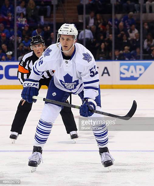 Martin Marincin of the Toronto Maple Leafs skates against the New York Rangers at Madison Square Garden on October 30 2015 in New York City The...