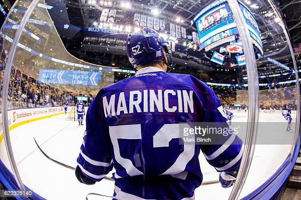 Martin Marincin of the Toronto Maple Leafs takes part in warmups before playing the Los Angeles Kings at the Air Canada Centre on November 8 2016 in...
