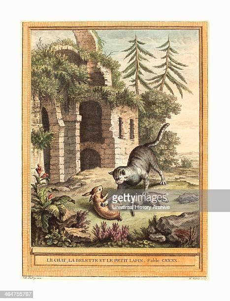 Martin Marvie After Jean Baptiste Oudry Le Chat La Balette Et Le Petit Lapin Published 1756 Hand Colored Etching