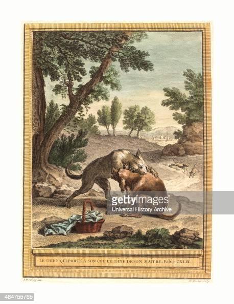 Martin Marvie After Jean Baptiste Oudry Le Chien Qui Porte A Son Cou Le Diner De Son Maitre Published 1756 Hand Colored Etching