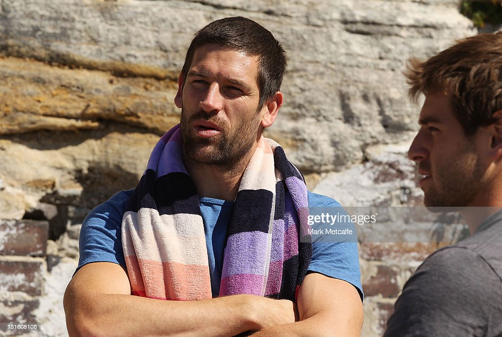 Martin Mattner and Nick Smith speak to media during a Sydney Swans media session at Coogee Beach on September 9, 2012 in Sydney, Australia.