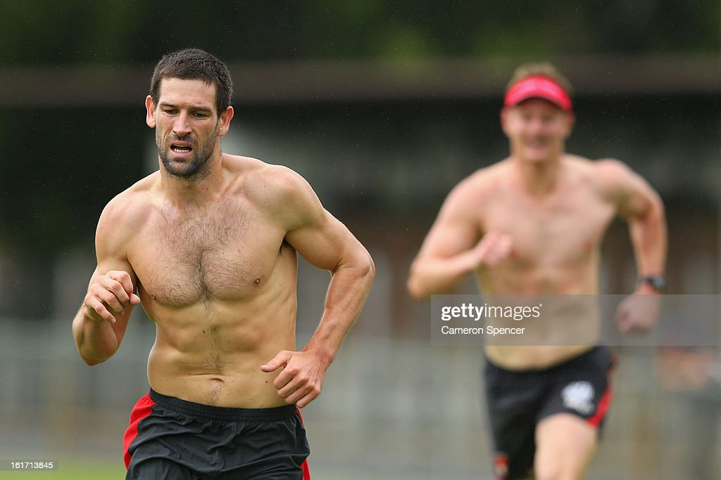 Martin Mattner of the Swans runs laps during an intra-club practice match during a Sydney Swans AFL training session at Moore Park on February 15, 2013 in Sydney, Australia.