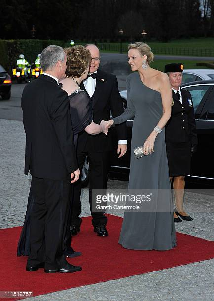Martin McAleese Irish President Mary McAleese His Serene Highness Prince Albert II Of Monaco and his fiancee Charlene Wittstock attend a State Dinner...