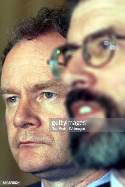 Martin McGuinness and Gerry Adams speak to the press at Parliament buildings in Belfast after Peter Mandelson suspended the Northern Ireland...