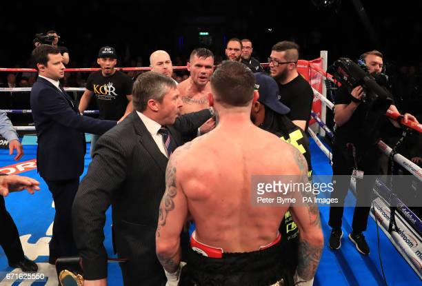 Martin Murray and Gabriel Rosado after their WBA InterContinental Middleweight Title at Liverpool Echo Arena