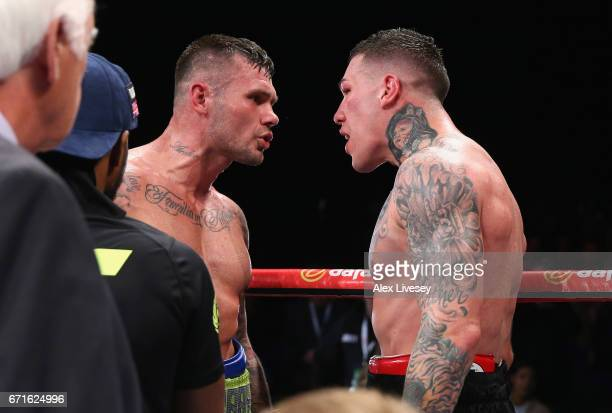 Martin Murray and Gabriel Rosado clash after the result is announced after the WBA InterContinental Middleweight title fight between Martin Murray...