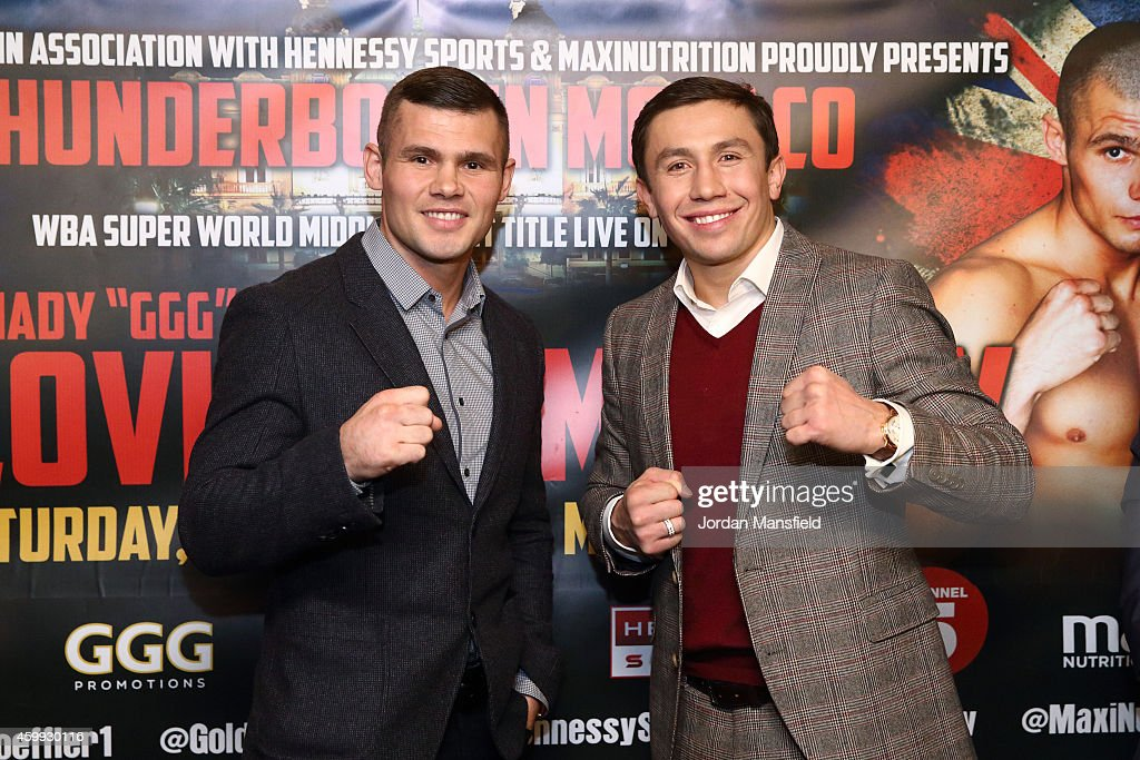 Martin Murray and <a gi-track='captionPersonalityLinkClicked' href=/galleries/search?phrase=Gennady+Golovkin&family=editorial&specificpeople=10619206 ng-click='$event.stopPropagation()'>Gennady Golovkin</a> pose for a photo during the press conference for the upcoming fight between Martin Murray and <a gi-track='captionPersonalityLinkClicked' href=/galleries/search?phrase=Gennady+Golovkin&family=editorial&specificpeople=10619206 ng-click='$event.stopPropagation()'>Gennady Golovkin</a> on December 4, 2014 in London, England.