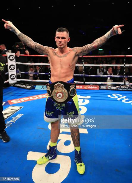 Martin Murray celebrates beating Gabriel Rosado during their WBA InterContinental Middleweight Title at Liverpool Echo Arena