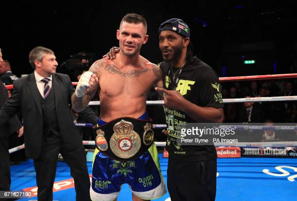 Martin Murray celebrates beating Gabriel Rosado in their WBA InterContinental Middleweight Title at Liverpool Echo Arena