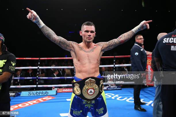 Martin Murray celebrates victory over Gabriel Rosado in the WBA InterContinental Middleweight title fight between Martin Murray and Gabriel Rosado at...