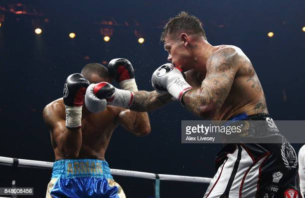 Martin Murray lands a right shot on Arman Torosyan during the WBSS Super Middleweight Substitute fight at Echo Arena on September 16 2017 in...
