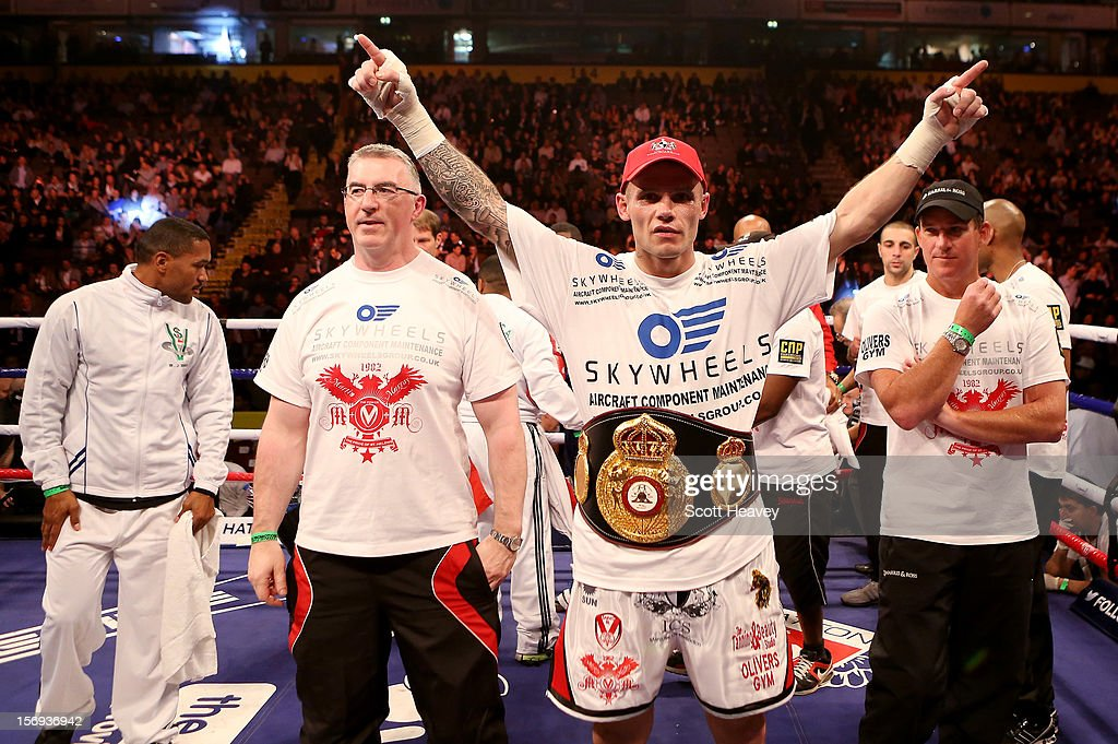 Martin Murray of Great Britain celebrates his victory over Jorge Navarro of Venezuela during their WBA Interim Middleweight Title bout at the MEN Arena on November 24, 2012 in Manchester, England.