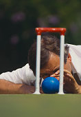 Martin Murray of Great Britain during the first Association Croquet World Championship on 1 September 1989 at the Hurlingham Club in London England...