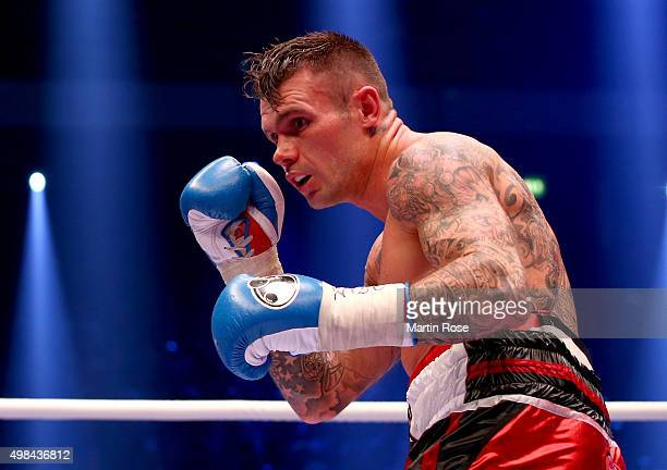 Martin Murray of Great Britain in action during the WBO World Championship Super Middleweight title fight at TUI Arena on November 21 2015 in Hanover...