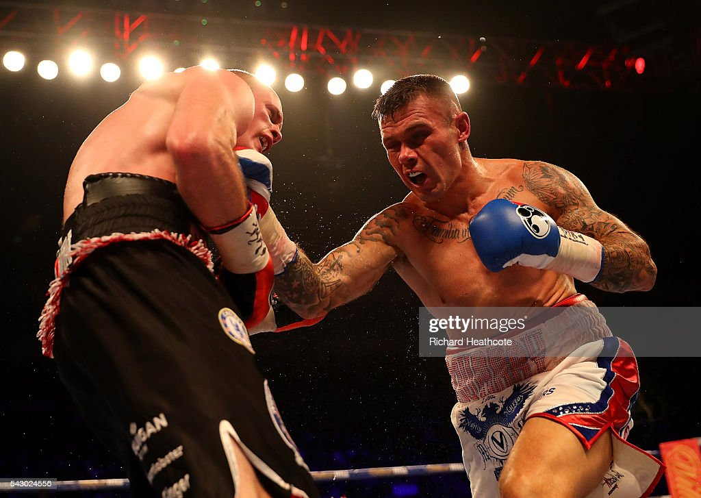 Martin Murray of Great Britain lands a punch on <a gi-track='captionPersonalityLinkClicked' href=/galleries/search?phrase=George+Groves&family=editorial&specificpeople=4006710 ng-click='$event.stopPropagation()'>George Groves</a> of Great Britain during their WBA International Super-Middleweight Championship contest at The O2 Arena on June 25, 2016 in London, England.
