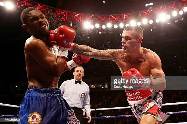Martin Murray of Great Britain lands the knockout blow during his WBA Interim Middleweight Title against Jorge Navarro of Venezuela at the MEN Arena...