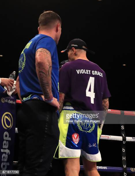 Martin Murray wears a tribute to four year old Violet Grace prior to his WBA InterContinental Middleweight Title with Gabriel Rosado at Liverpool...
