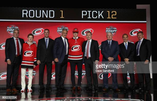 Martin Necas 12th overall pick of the Carolina Hurricanes poses for a photo onstage during Round One of the 2017 NHL Draft at United Center on June...