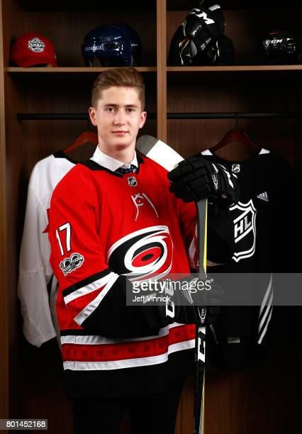Martin Necas 12th overall pick of the Carolina Hurricanes poses for a portrait during Round One of the 2017 NHL Draft at United Center on June 23...