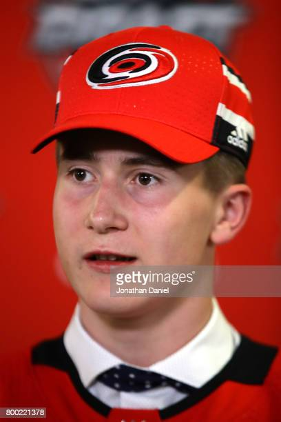 Martin Necas is interviewed after being selected 12th overall by the Carolina Hurricanes during the 2017 NHL Draft at the United Center on June 23...