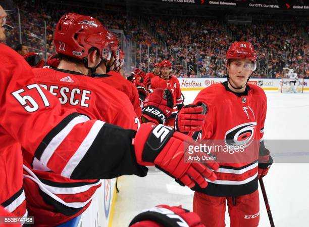 Martin Necas of the Carolina Hurricanes celebrates after a goal during the preseason game against the Edmonton Oilers on September 25 2017 at Rogers...