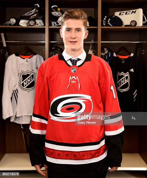 Martin Necas poses for a portrait after being selected 12th overall by the Carolina Hurricanes during the 2017 NHL Draft at the United Center on June...