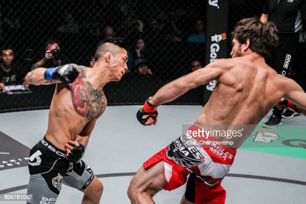 Martin Nguyen knocks out Marat Gafurov to become the new ONE Featherweight World Champion during ONE Championship Quest For Greatness at the Stadium...